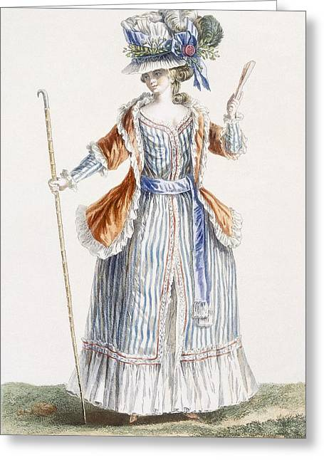 Striped Drawings Greeting Cards - Ladys Shepherds-style Dress, Engraved Greeting Card by Pierre Thomas Le Clerc