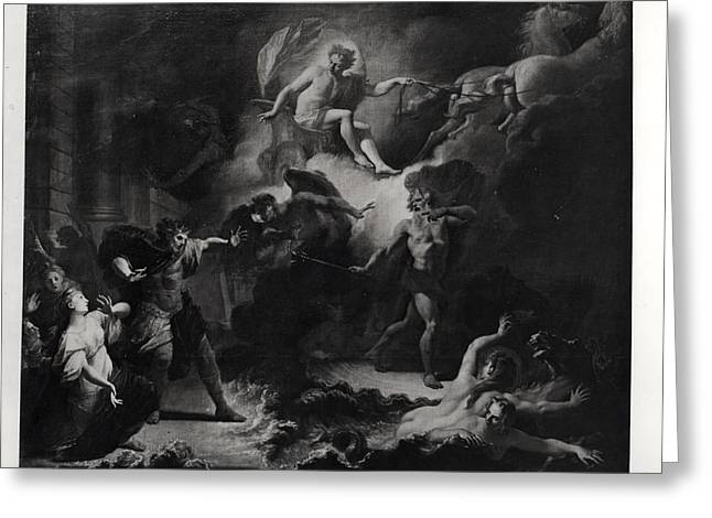 Laemedon Punished By Apollo And Poseidon, 1707 Oil On Canvas Bw Photo Greeting Card by Pierre Dulin