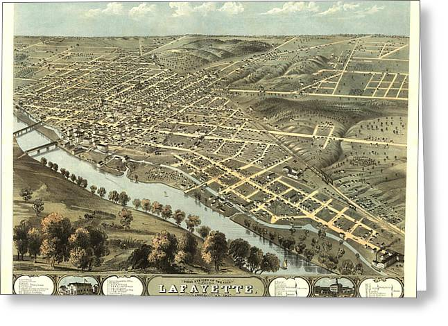 Hand Drawn Greeting Cards - Lafayette Indiana 1868 Map Greeting Card by Stephen Stookey