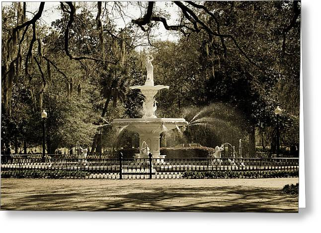 Historic Neighborhood Greeting Cards - Lafayette Square in Savannah Greeting Card by Maria Suhr