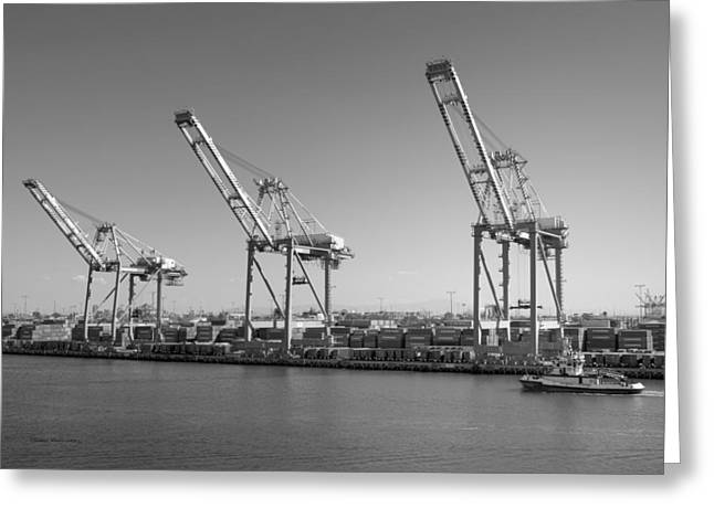 And Merchant Ships Greeting Cards - LAFD Fire Boat 2 San Pedro CA 02 BW Greeting Card by Thomas Woolworth