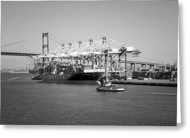 And Merchant Ships Greeting Cards - LAFD Fire Boat 2 San Pedro CA 03 BW Greeting Card by Thomas Woolworth