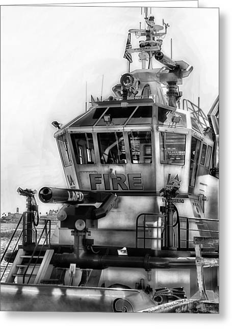 And Merchant Ships Greeting Cards - LAFD Fire Boat 2 San Pedro CA BW Greeting Card by Thomas Woolworth