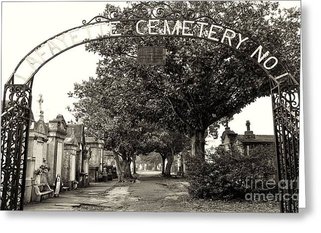 Crescent City Greeting Cards - Lafeyette Cemetery No. 1 sepia Greeting Card by John Rizzuto