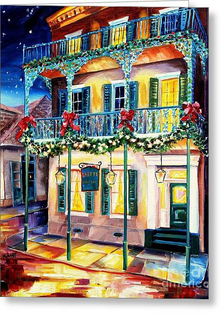 Lafitte Guest House At Christmas Greeting Card by Diane Millsap