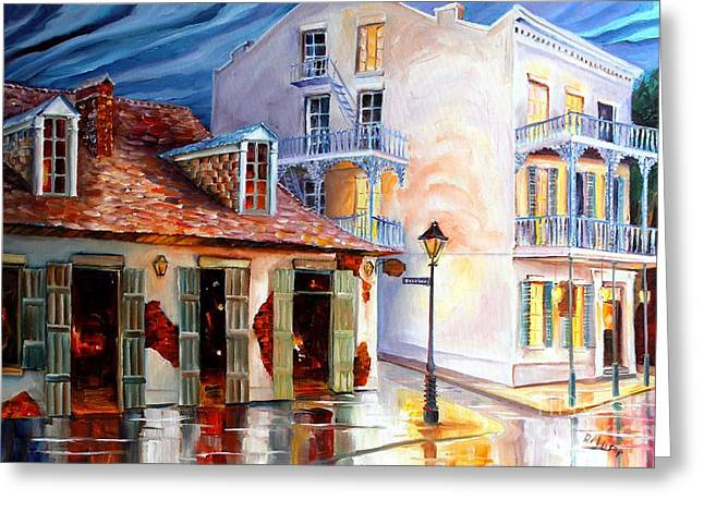 Lamp Greeting Cards - Lafittes Guest House on Bourbon Greeting Card by Diane Millsap