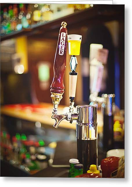 Tap Greeting Cards - Lager on Tap Greeting Card by April Reppucci