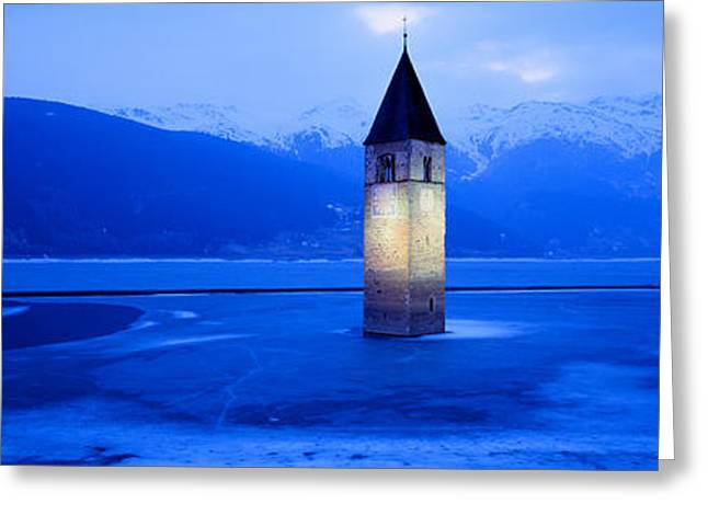 Floods Greeting Cards - Lago Di Resia Church, Tyrol, Italy Greeting Card by Panoramic Images