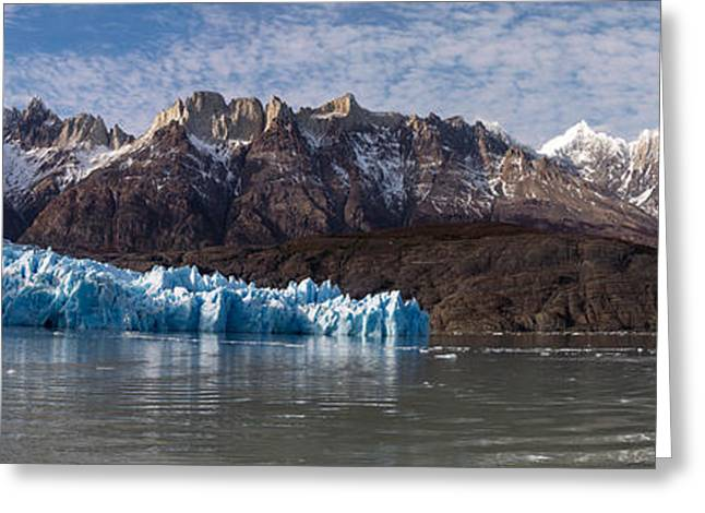 Grey Clouds Greeting Cards - Lago Grey And Grey Glacier With Paine Greeting Card by Panoramic Images