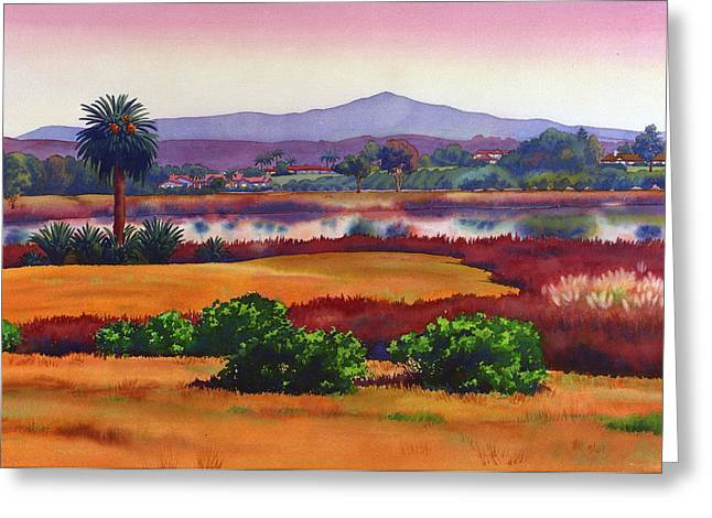 California Lakes Greeting Cards - Lago Lindo Rancho Santa Fe Dusk Greeting Card by Mary Helmreich