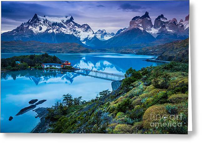 Andes Greeting Cards - Lago Pehoe Greeting Card by Inge Johnsson