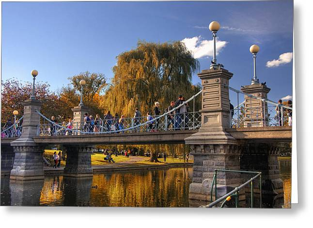 Pond In Park Greeting Cards - Lagoon Bridge in Autumn Greeting Card by Joann Vitali