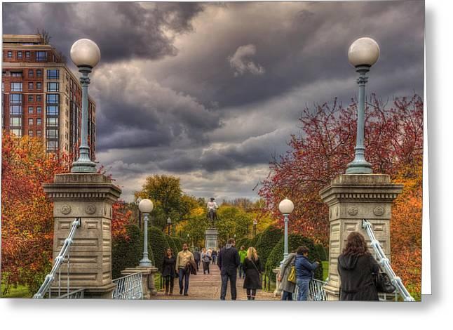 Fall Scenes Greeting Cards - Lagoon Bridge in Boston Public Garden Greeting Card by Joann Vitali