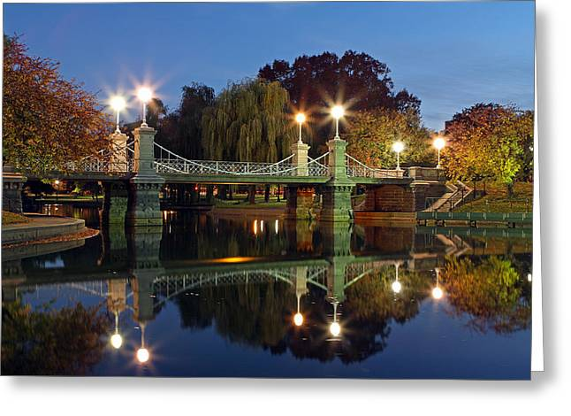 Recently Sold -  - Old Street Greeting Cards - Lagoon Bridge in the Boston Public Garden  Greeting Card by Juergen Roth