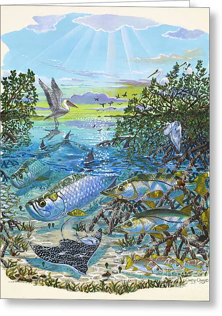 Bonefish Greeting Cards - Lagoon Greeting Card by Carey Chen