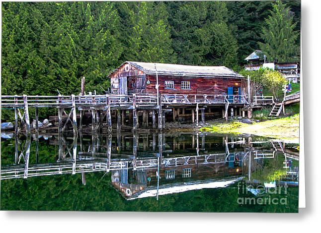 Prawn Boat Greeting Cards - Lagoon Cove Greeting Card by Robert Bales