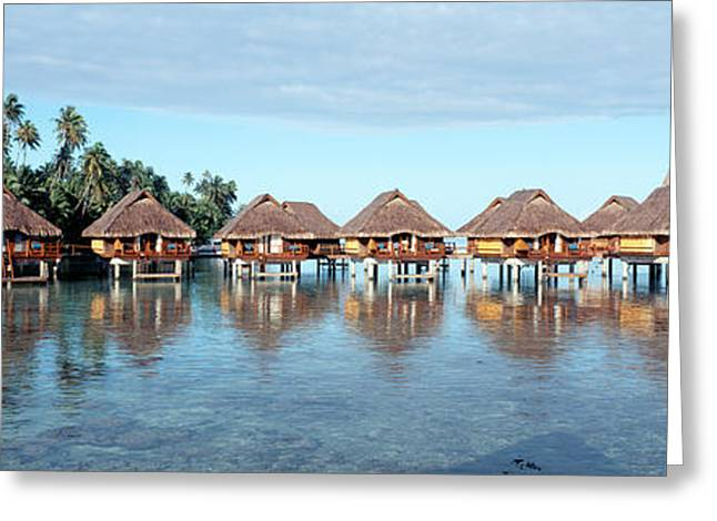 Stilt House Greeting Cards - Lagoon Resort, Island, Water, Beach Greeting Card by Panoramic Images