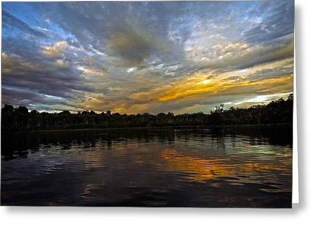Sasha Greeting Cards - Lagoon sunset in the Jungle Greeting Card by Kurt Van Wagner