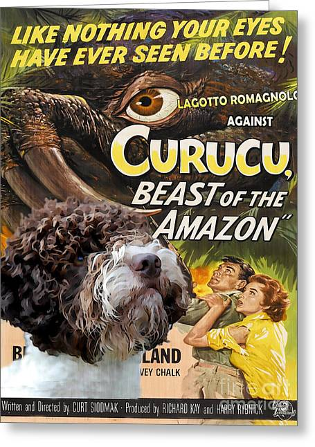 Dog Posters Greeting Cards - Lagotto Romagnolo Art Canvas Print - Curucu Movie Poster Greeting Card by Sandra Sij