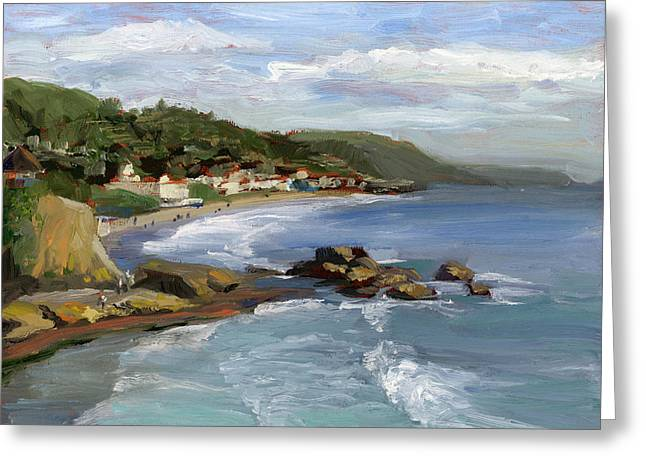 Cliff Paintings Greeting Cards - Laguna Beach Greeting Card by Alice Leggett