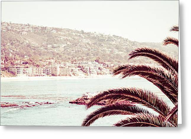 Pacific Ocean Prints Greeting Cards - Laguna Beach California Retro Panorama Photo Greeting Card by Paul Velgos