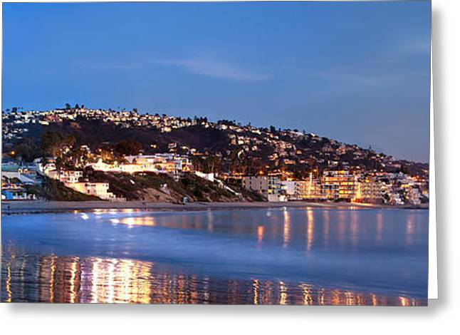 ist Photographs Greeting Cards - Laguna Beach Coastline at Night Greeting Card by Cliff Wassmann