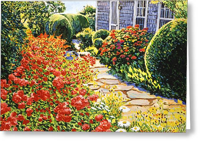 Rose Bushes Greeting Cards - Laguna Beach House Garden Greeting Card by David Lloyd Glover