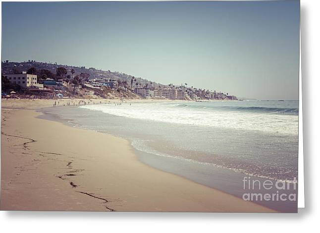 Beach Photography Greeting Cards - Laguna Beach Retro Picture Greeting Card by Paul Velgos