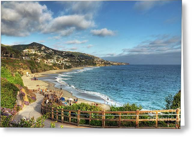 Laguna Beach Shoreline Greeting Card by Eddie Yerkish