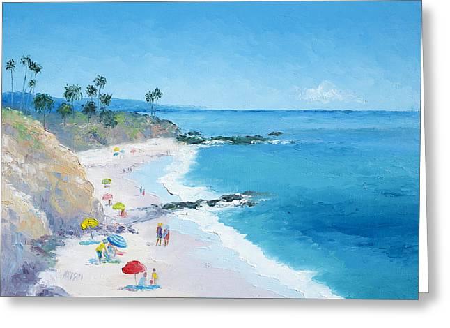 California Beach Art Greeting Cards - Laguna Beach Umbrellas Greeting Card by Jan Matson