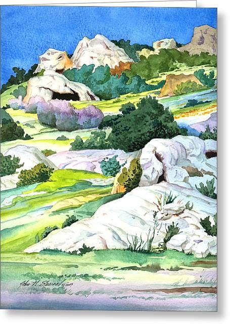 John Stewart Greeting Cards - Laguna Canyon Rocks Greeting Card by John Norman Stewart