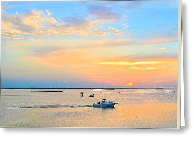 Throw Down Greeting Cards - Laguna Madre Fishing at Sunset Greeting Card by Kristina Deane