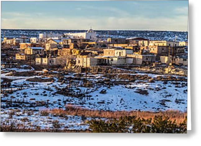 Native Greeting Cards - Winter Afternoon Laguna Pueblo Greeting Card by Duane Miller
