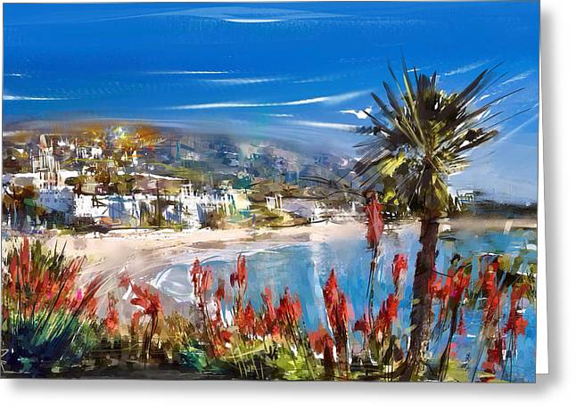 Heisler Park Greeting Cards - Laguna Sparkle Greeting Card by Russell Pierce