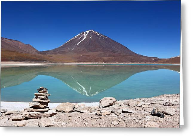 Reflecting Water Greeting Cards - Laguna Verde and Licancabur volcano Greeting Card by James Brunker