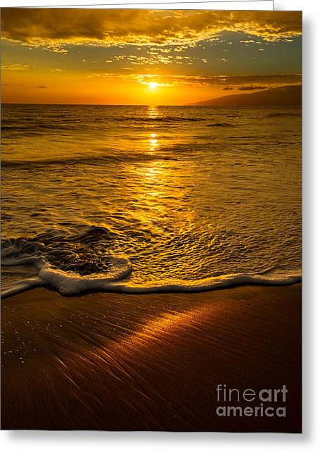 Peaceful Water Greeting Cards - Lahaina Glow Greeting Card by Jamie Pham