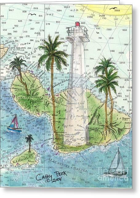 Nautical Chart Greeting Cards - Lahaina Lighthouse Maui HI Nautical Chart Map Art Cathy Peek Greeting Card by Cathy Peek