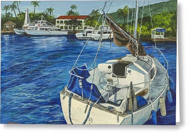 Lahaina Paintings Greeting Cards - Lahaina Yacht Greeting Card by Darice Machel McGuire