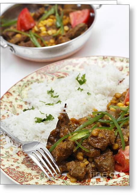 Basmati Greeting Cards - Lahore style lamb curry vertical Greeting Card by Paul Cowan