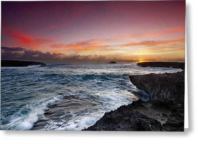 Ocean Art Photography Photographs Greeting Cards - Laie Point Sunrise Greeting Card by Sean Davey