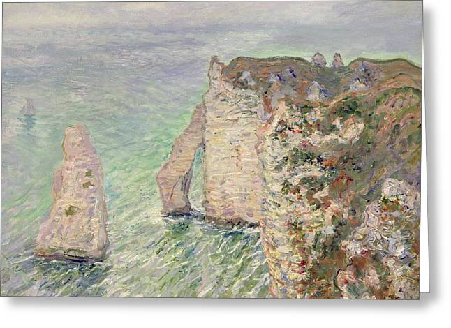 Pale Blue Greeting Cards - LAiguille and the Porte dAval   Etretat Greeting Card by Claude Monet