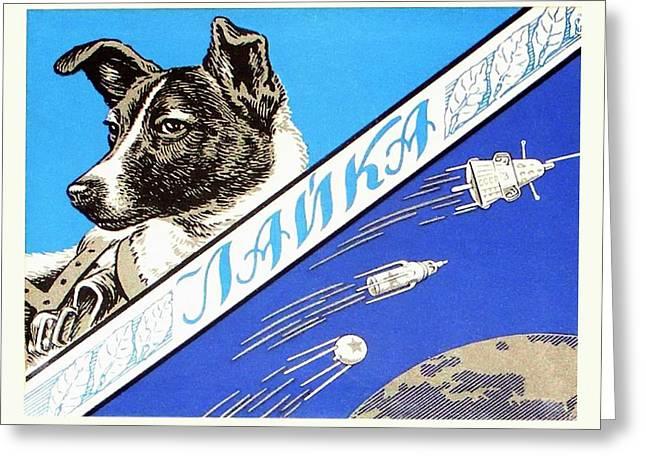 Laika Space Dog Commemorative Packaging Greeting Card by Detlev Van Ravenswaay