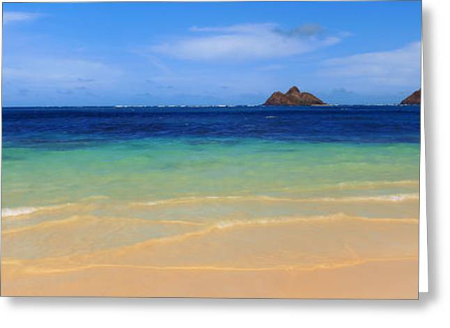Seascape Photography Photographs Greeting Cards - Lainki Beach, Oahu, Hawaii, Usa Greeting Card by Panoramic Images