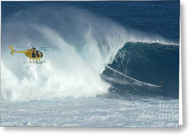 Best Sellers -  - Surfing Photos Greeting Cards - Laird Hamilton Going Left At Jaws Greeting Card by Bob Christopher