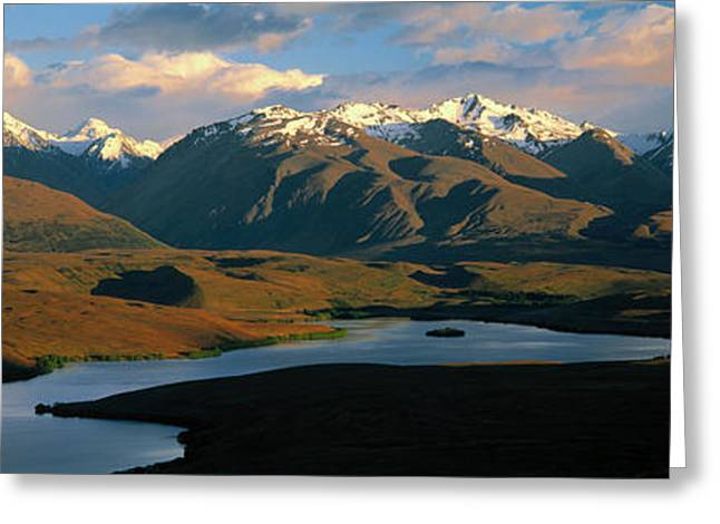 Snow Capped Greeting Cards - Lake Alexandrina New Zealand Greeting Card by Panoramic Images