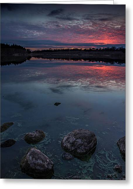 Dusk Greeting Cards - Lake Alvin dusk Greeting Card by Aaron J Groen