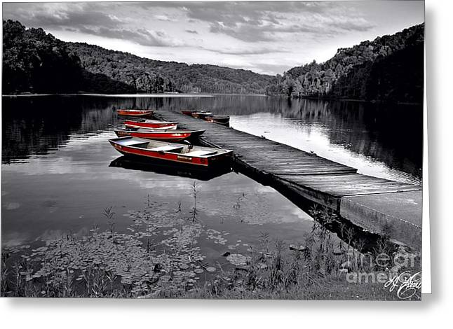 Water Lilly Greeting Cards - Lake and Boats Greeting Card by Lj Lambert