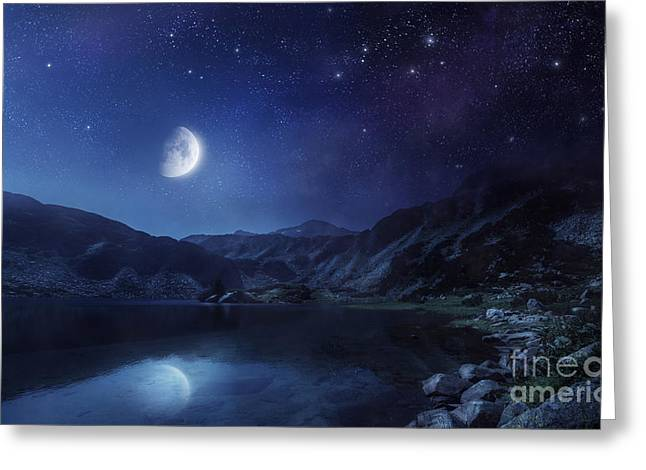 Reflections Of Sky In Water Greeting Cards - Lake And Mountains At Night Greeting Card by Evgeny Kuklev
