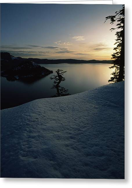 Crater Lake Greeting Cards - Lake At Sunset, Llao Rock, Wizard Greeting Card by Panoramic Images