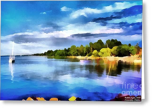 Water Filter Paintings Greeting Cards - Lake balaton at summer Greeting Card by Odon Czintos